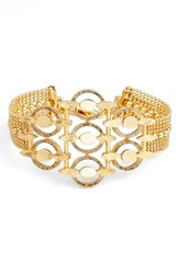 Badgley Mischka Women's Multirow Station Bracelet Gold