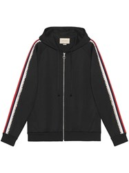 Gucci Crystal Embroidered Jersey Sweatshirt Cotton Polyester Bronze Glass Xs Black
