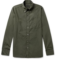 Tom Ford Slim Fit Button Down Collar Washed Cotton Shirt Green