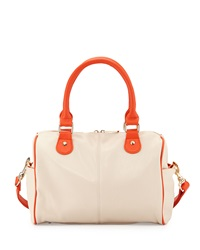 Neiman Marcus Contrast Trim Duffel Satchel Bag Ecru Orange
