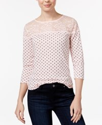 Maison Jules Polka Dot Lace Trim Top Only At Macy's Pink Cloud Combo