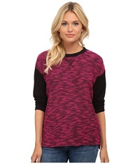 Kensie Two Tone Slub Top Ks8k3704 Magenta Combo Women's Long Sleeve Pullover Pink