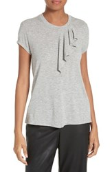 Rebecca Taylor Women's Ruffled Jersey Top Light Heather Grey