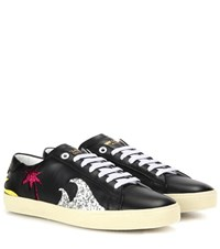 Saint Laurent Court Classic Sl 06 Sea Sex And Sun Embellished Leather Sneakers Black