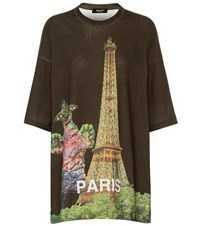 Undercover Oversized Printed Cotton T Shirt Green