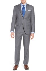 Peter Millar Big And Tall Classic Fit Windowpane Wool Suit Grey