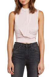 Willow And Clay Twist Front Sleeveless Crop Top Light Pink