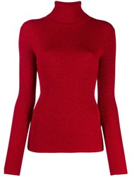 P.A.R.O.S.H. Ribbed Roll Neck Jumper Red