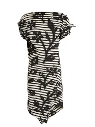 Vivienne Westwood Shore Striped Floral Print Jersey Dress Black Multi