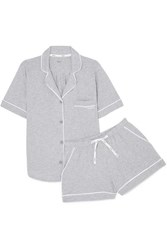 Dkny Signature Cotton Blend Jersey Pajamas Light Gray