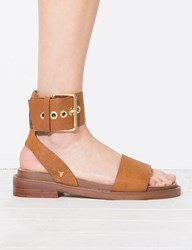 Pixie Market Whirl Brown Buckle Sandals