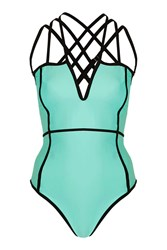 Contrast Binding Strappy Swimsuit By Rare Turquoise