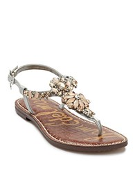 Sam Edelman Garen Jeweled Leather T Strap Sandals Silver