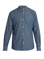 Ermenegildo Zegna Collarless Cotton Chambray Shirt Blue