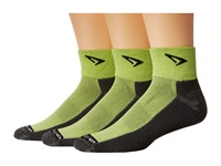 Drymax Sport Lite Trail Running 1 4 Crew Turn Down 3 Pair Pack Lime Green Gray Crew Cut Socks Shoes