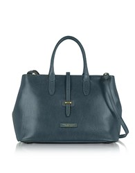 The Bridge Large Leather Tote Bag W Shoulder Strap Blue