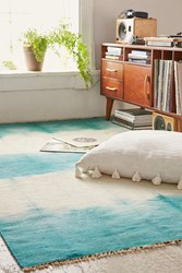 Urban Outfitters Hazy Tie Dyed Wool Woven Rug Teal