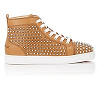 Christian Louboutin Men's Spiked Louis Flat Sneakers Tan
