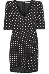 Alice Olivia Judy Ruched Polka Dot Stretch Jersey Mini Dress Black