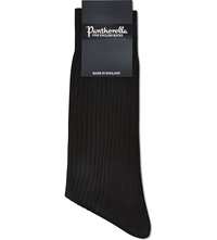 Pantherella Short Ribbed Silk Socks Black