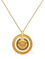 Versace Medusa And Greek Motif Long Necklace Gold