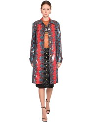Versace Snake Printed Leather Coat Red Blue Black
