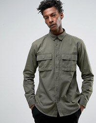 Only And Sons Shirt With Military Pockets In Regular Fit Kalamata Green
