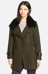 Women's Trina Turk 'Aubree' Wool Blend Coat With Detachable Genuine Shearling Trim