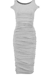 Bailey 44 Ruched Stretch Jersey Dress Light Gray