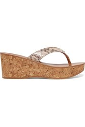 K Jacques St Tropez Diorite Snake Effect Leather Wedge Sandals Snake Print