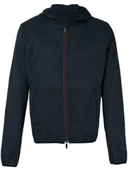 Emporio Armani Hooded Jacket Men Cotton Linen Flax Polyamide Cupro 52 Blue