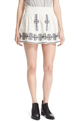 Women's Joie 'Almanza' Embroidered Cotton Miniskirt Porcelain Caviar Navy
