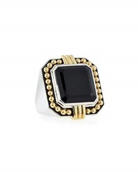 Lagos Deco Emerald Cut Black Spinel Statement Ring