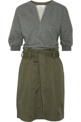 3.1 Phillip Lim French Cotton Terry And Cotton Blend Twill Dress Army Green