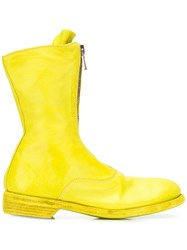 Guidi Front Zip Mid Calf Boots Yellow