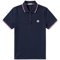 Moncler Classic Contrast Tipped Polo Blue