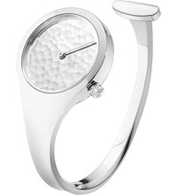 Georg Jensen Vivianna Sterling Silver Hammered Bangle Watch 27Mm