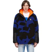 Marcelo Burlon County Of Milan Blue And Black Camouflage Bomber Jacket