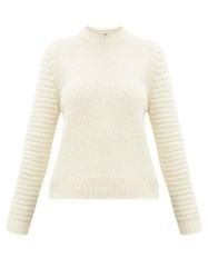 Sara Lanzi Ribbed Knit Merino Blend Sweater Ivory