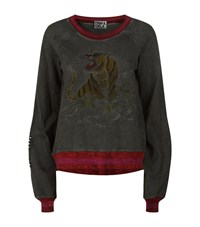 Pam And Gela Embroidered Tiger Sweatshirt Female Grey