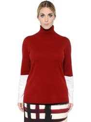 Marina Rinaldi Two Tone Cashmere Turtleneck Sweater