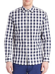 Kent And Curwen Buffalo Check Button Up Navy