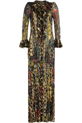 Roberto Cavalli Floor Length Dress With Silk And Metallic Thread Black