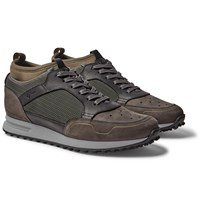 Dunhill Radial Runner Neoprene And Leather Trimmed Suede And Mesh Sneakers Green