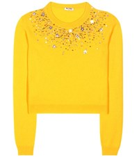 Miu Miu Embellished Cashmere Sweater Yellow