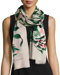 Burberry Floral Wool And Silk Scarf Emerald White