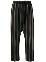 Hache Striped Cropped Trousers Black