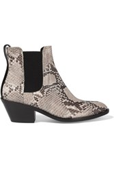 Rag And Bone Dixon Snake Effect Leather Ankle Boots Gray