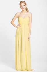 Women's Donna Morgan 'Laura' Ruched Sweetheart Silk Chiffon Gown Lemon