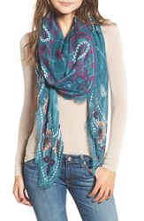 Treasure And Bond Print Textured Square Scarf Pink Crafted Paisley